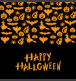 halloween symbols horizontal ornament greeting vector image