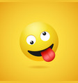happy smiling crazy emoticon with stuck out tongue vector image vector image