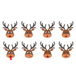 heads deer with different emotions - smiling vector image