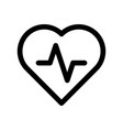 heart icon with pulse line symbol of healthy vector image vector image