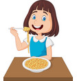 little girl eating spaghetti vector image vector image