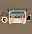 modern person hands working on the laptop sitting vector image vector image