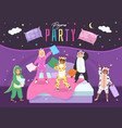 pajama party happy children fight with pillows vector image vector image