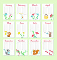 planner calendar template with cute animals vector image vector image
