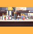 railway station interior with people passengers vector image