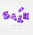 sale 3d sign purple on white vector image vector image