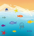Sea and fishes funny background with waves vector image vector image
