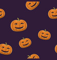 seamless pattern of smiling scary pumpkin vector image vector image