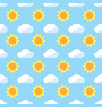 seamless pattern yellow sun and white cloud on vector image vector image