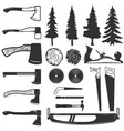 set carpenter tools wood and trees icons vector image
