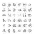 set food delivery line icons vector image vector image