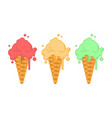 set ice cream in strawberry waffle horn pistachio vector image