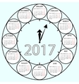 Simple Calendar 2017 circles clock time year vector image