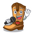 singing old cowboy boots in shape character vector image vector image