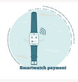 smartwatch payment service concept in line art vector image vector image