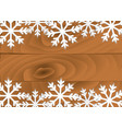 snowflake on wooden board card vector image