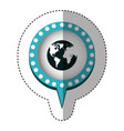 sticker with circular speech with blue contour vector image vector image