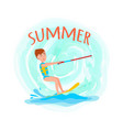 summer adventure poster kitesurfing happy boy vector image vector image