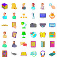 textbook icons set cartoon style vector image