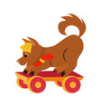 toy fox and a skateboard accompanied by flat vector image