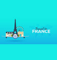 travel to france airplane with attractions vector image vector image