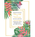 tropical wedding invitation with gold frame vector image vector image