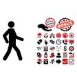 Walking Man Flat Icon with Bonus vector image vector image