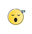 yellow smiling cartoon face sleeping people vector image vector image
