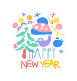 happy new year logo template colorful hand drawn vector image