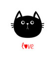 black cat head icon cute funny cartoon character vector image