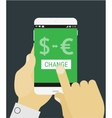 Hand selecting currency exchange on mobile device vector image