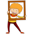a boy holding wooden picture frame doodle cartoon
