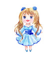 anime is a little girl in a blue dress with two vector image vector image