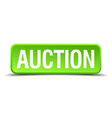 Auction green 3d realistic square isolated button vector image