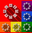 bagua sign set of icons with flat shadows vector image