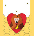 bear eating honey in red heart on honeycomb vector image