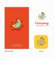 bird company logo app icon and splash page design vector image vector image
