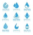 Blue water drop logos icons set vector image