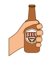 bottles of beer in the hand icon design vector image vector image