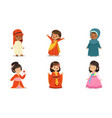 boys and girls in national costumes different vector image