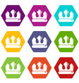 bronze crown icons set 9 vector image vector image