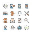 call center and support in colorline icon set vector image vector image