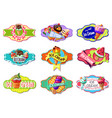 cartoon colorful ice creams labels set vector image vector image