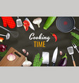 cooking time background vector image vector image