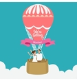 couple we are married flying hot air balloon vector image vector image