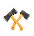 crossed two wooden axes vector image vector image