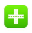 crossing road icon digital green vector image
