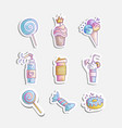 cute cartoon little princess icon set - sweets vector image vector image