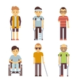 Disabled people set Old and young invalid vector image vector image