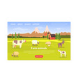 farm animals landing page templte milk and dairy vector image